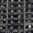 Cette photo montre ce qui reste de la Tour Grenfell après l'incendie du 14 juin.
