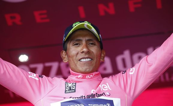 Colombia's Nairo Quintana of team Movistar celebrates the pink jersey win taking it from Luxembourg's Bob Jungels
