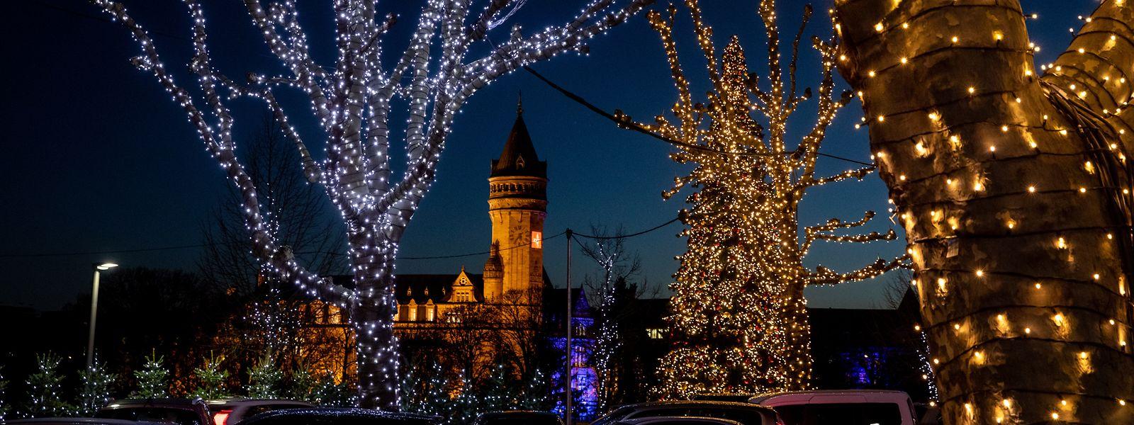 Auf der Place de la Constitution wurden die bestehenden Bäume mit Lichterketten verhüllt.