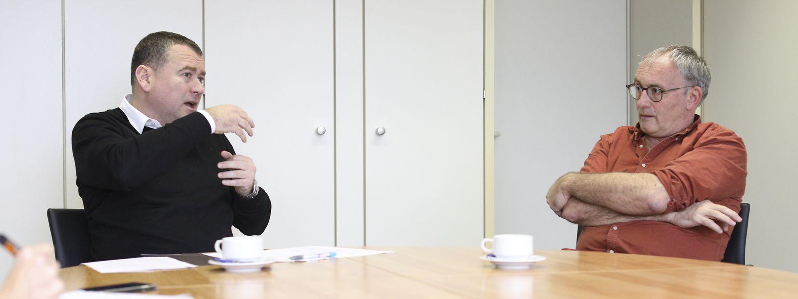SNE-Präsident Patrick Remakel (l.) und SEW-Präsident Patrick Arendt sehen in der Überbürokratisierung des Grundschulwesens ein großes Problem.