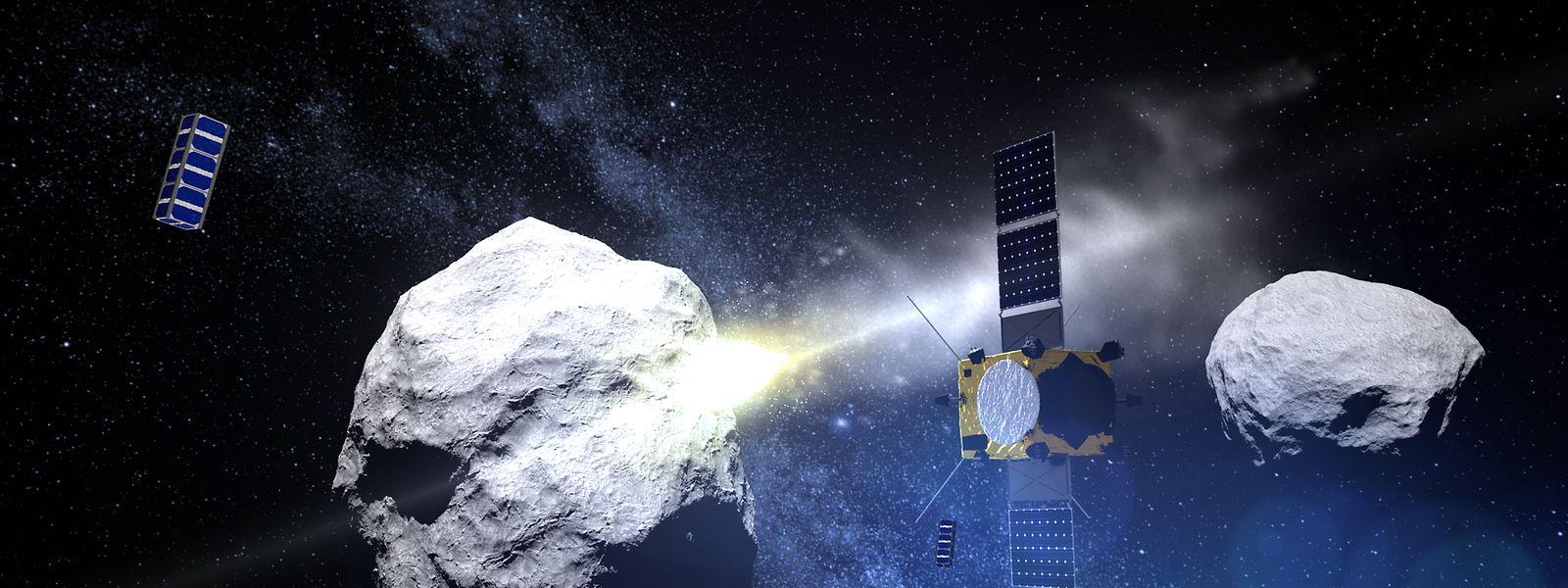 """Die NASA-Raumsonde """"Dart"""" soll in den kleinen Asteroiden """"Didymoon"""" einschlagen und so seine Bahn verändern. Die europäische Raumsonde """"Hera"""", an der sich Luxemburg beteiligt, soll das Ergebnis untersuchen: den Einschlagskrater und die neue Flugbahn."""