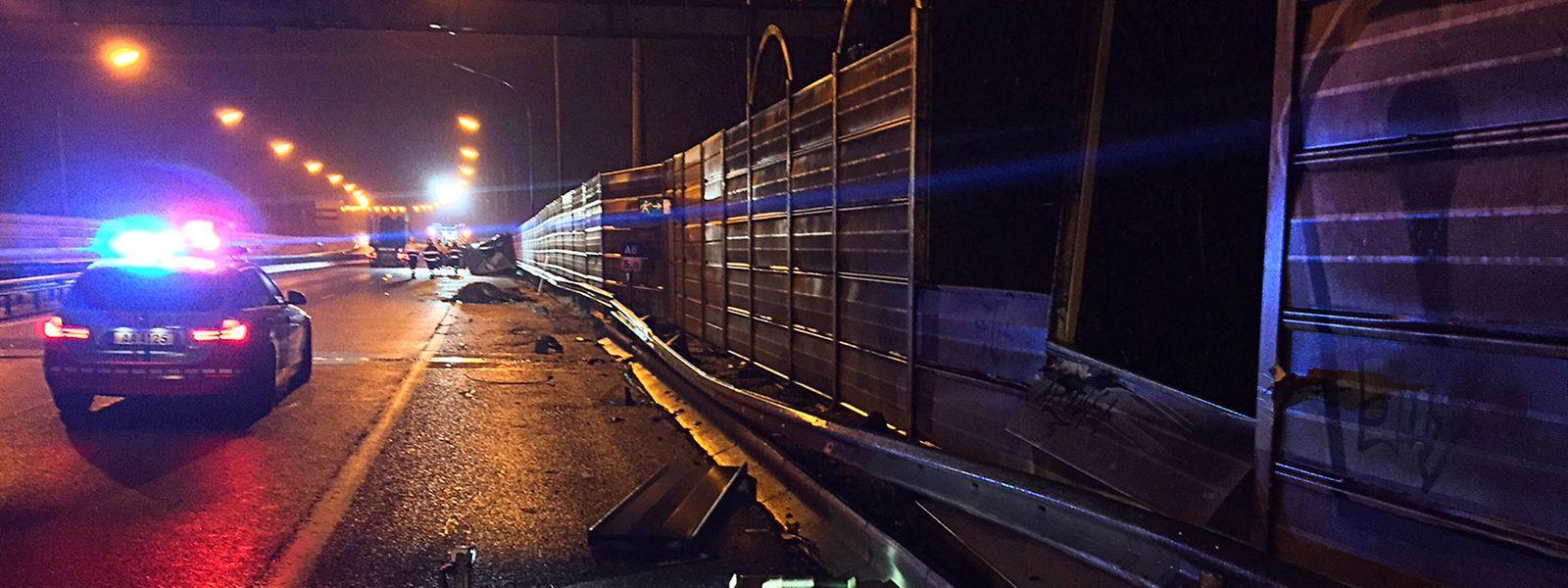 La remorque a été projetée contre les rails de sécurité. L'impact a été tel que l'animal s'est retrouvé sur l'autoroute.