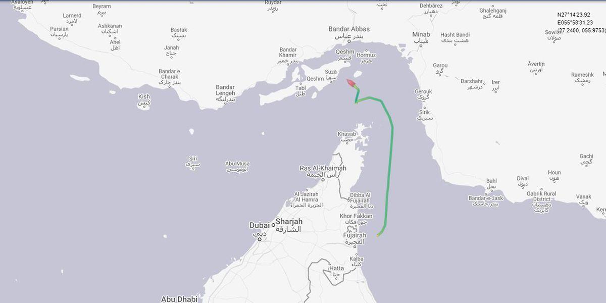 Ein Screenshot der Website Marine Traffic zeigt die Route des ersten aufgebrachten Tankers.