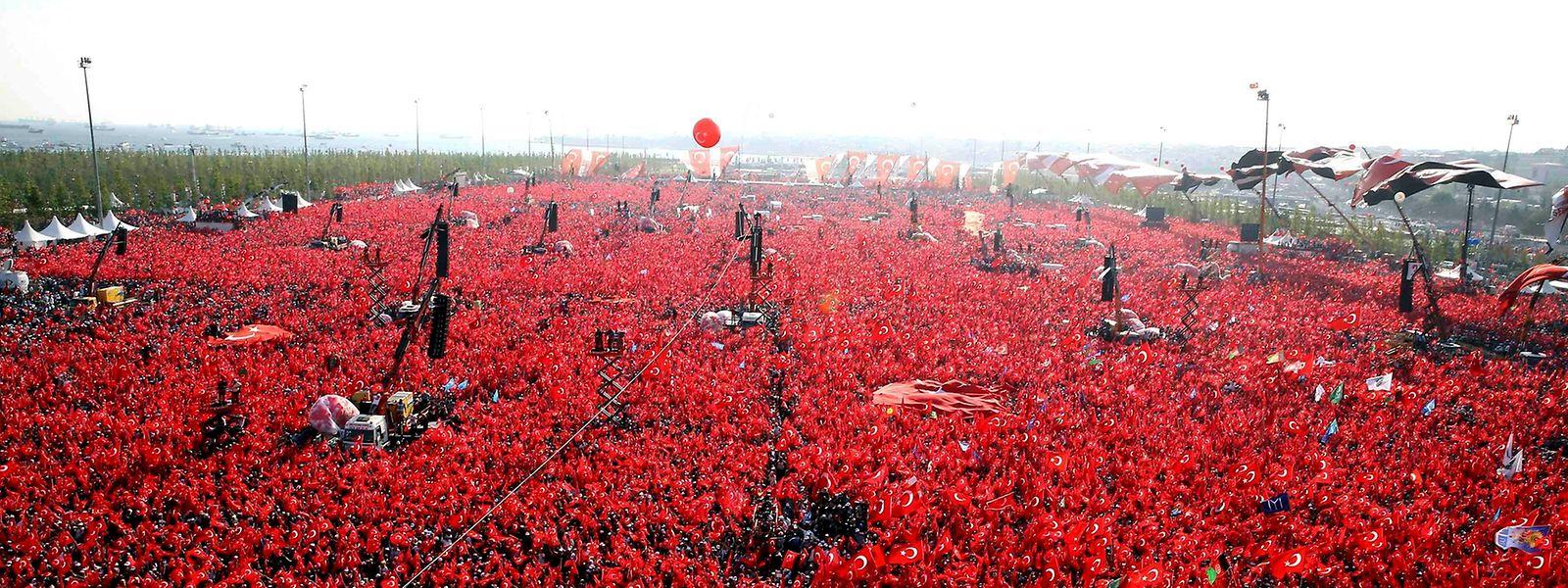 Ein Meer aus türkischen Fahnen flankierte Erdogans Rede.