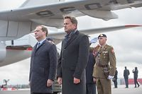 (de g. à dr.) Dimitri Medvedev, Premier ministre de la fédération de Russie ; Xavier Bettel, Premier ministre, ministre d'État ;