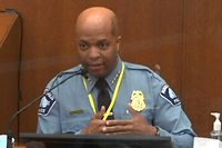 """This screenshot obtained from pool video feed via Court TV on April 5, 2021, shows Minneapolis Police Chief Medaria Arradondo testifying during the trial of former police officer Derek Chauvin charged in the death of George Floyd in Minneapolis, Minnesota, on March 29, 2021. (Photo by STR / various sources / AFP) / RESTRICTED TO EDITORIAL USE - MANDATORY CREDIT """"AFP PHOTO / POOL VIA COURT TV"""" - NO MARKETING - NO ADVERTISING CAMPAIGNS - DISTRIBUTED AS A SERVICE TO CLIENTS"""