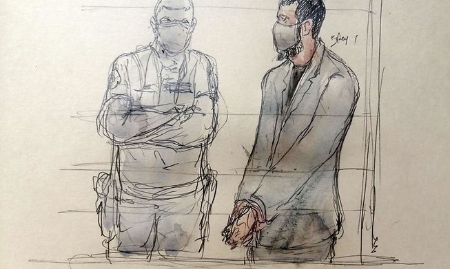 The prime suspect in the Bataclan attacks, Salah Abdeslam, in a court sketch made on September 28