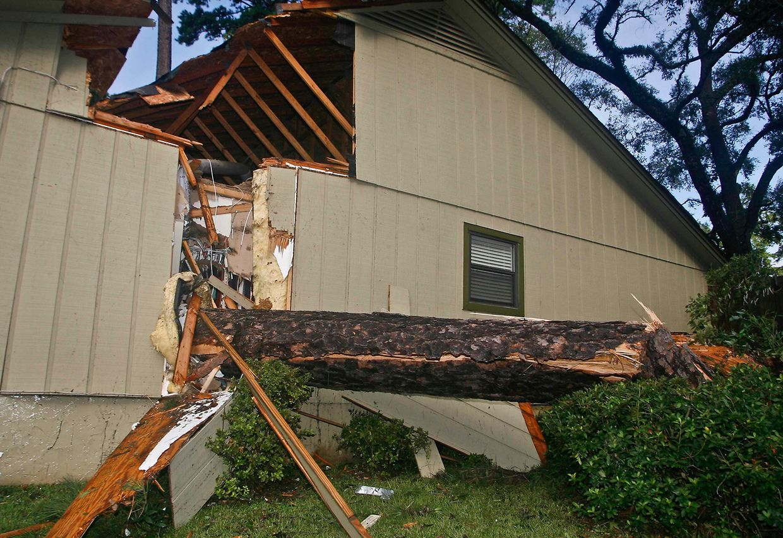 Eine umgestürzte Kiefer hat an diesem Wohnhaus schweren Schaden angerichtet.