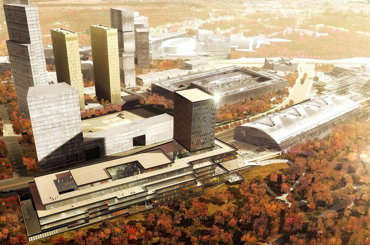 Vue aérienne depuis le val des Bons malades : au premier plan à gauche, le nouveau bâtiment ; à droite, le bâtiment Est actuel, grande verrière demi-sphérique.