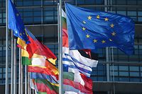 Flags of European Union fly next to flags of EU countries at the European Parliament on July 2, 2019 in Strasbourg, eastern France, during the inaugural European Parliament session. - European Parliament opens a new session on July 2, 2019 with newly elected British MEPs still in their ranks and three Catalan separatists blocked by Madrid from taking their seats. (Photo by FREDERICK FLORIN / AFP)