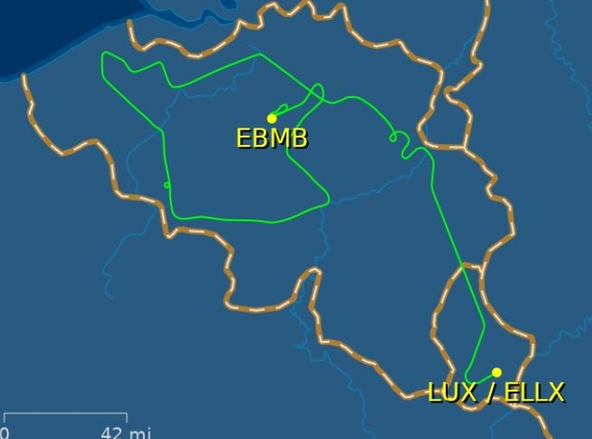 Die Flugroute des A400M führt in Schleifen über fast ganz Belgien.