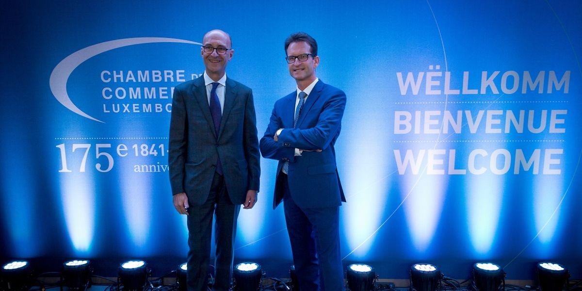 """Michel Wurth (l.), Präsident der """"Chambre de commerce"""" und Carlo Thelen, Generaldirektor, waren die Gastgeber des Abends."""