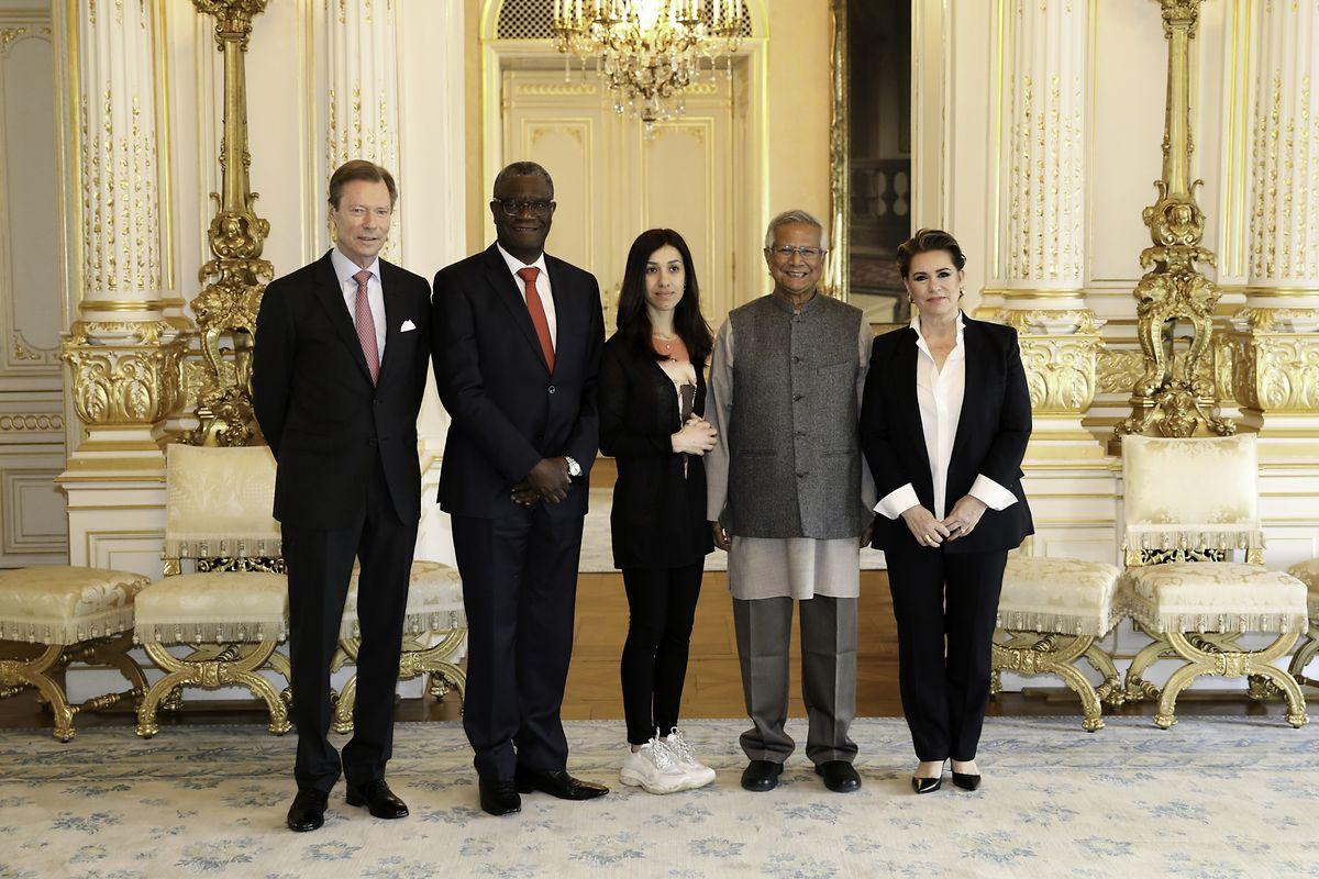 Großherzog Henri, Denis Mukwege, Nadia Murad, Muhammad Yunus und Großherzogin Maria Teresa.