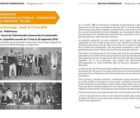 EXPO PHOTO - COMMISSION CULTURELLE - COMMISSION DES ARCHIVES - 30 ANS