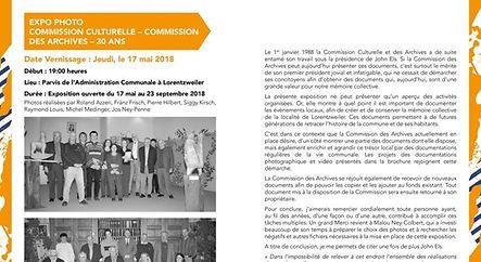 EXPO PHOTO - COMMISSION CULTURELLE - COMMISSION DES ARCHIVES - 30 ANS