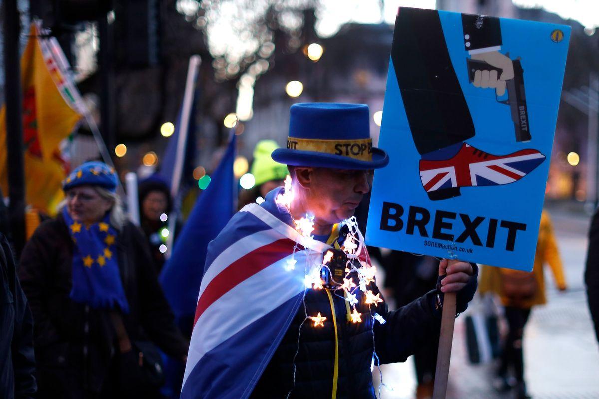 Ein Anti-Brexit-Demonstrant vor den Houses of Parliament in London.