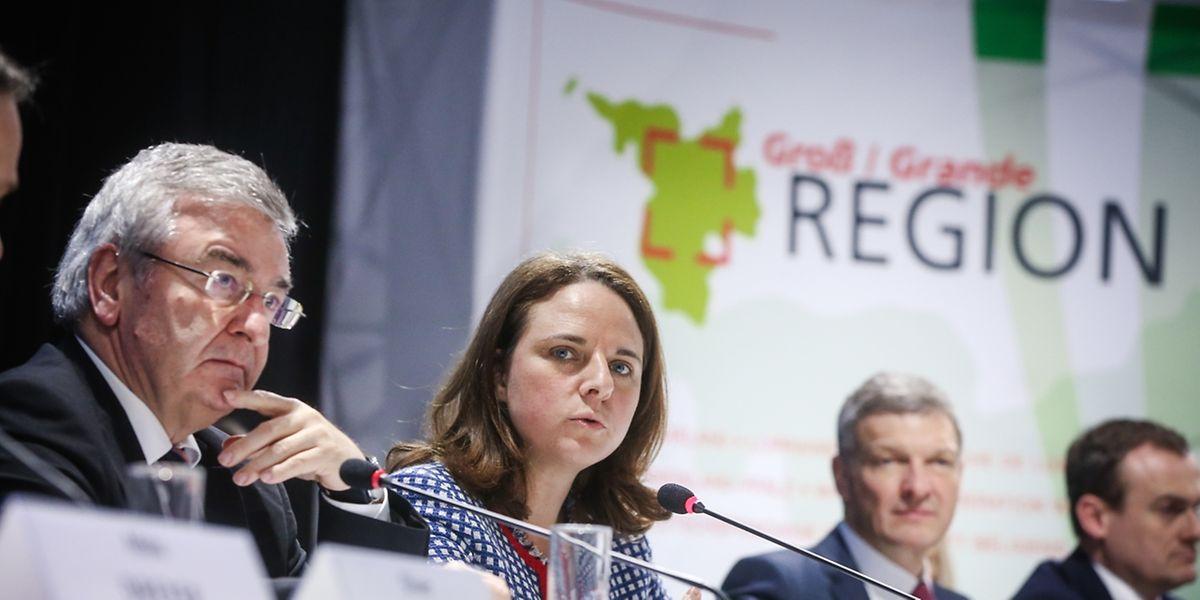 René Collin (l.) und Corinne Cahen sprachen am Dienstagmittag über die Zielsetzungen der Großregion.