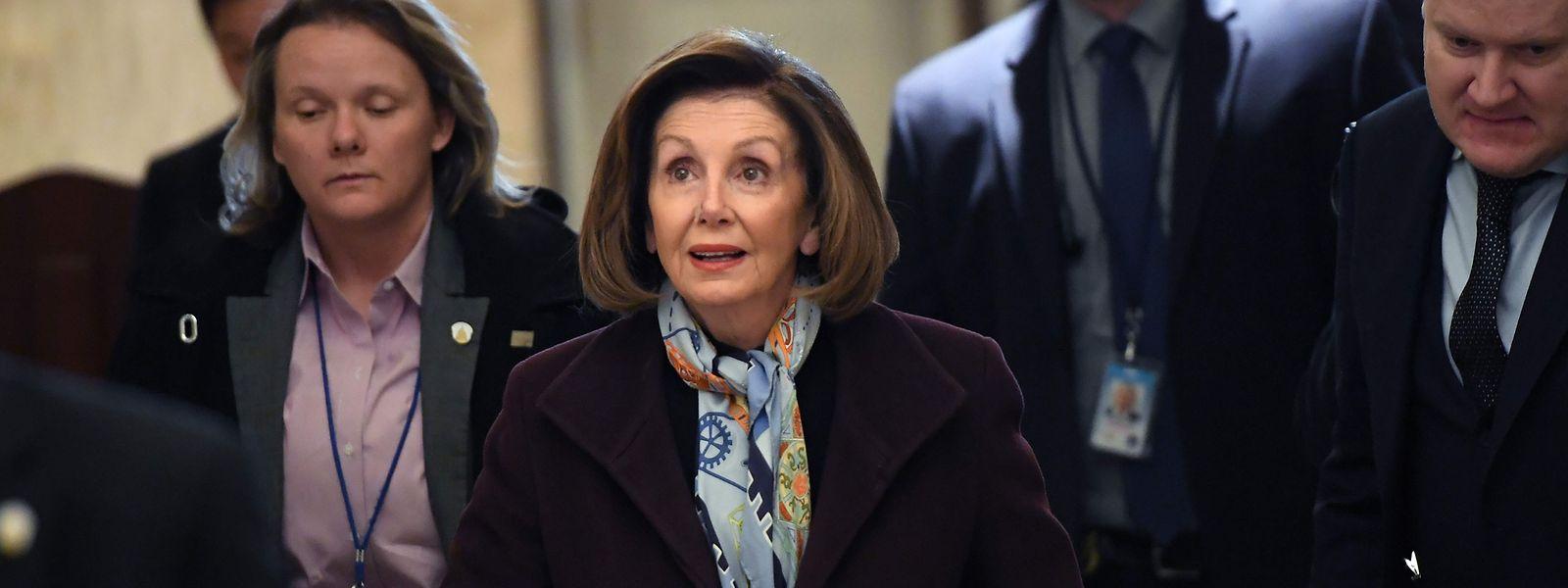 Die Vorsitzende des US-Repräsentatenhauses Nancy Palosi bei ihrer Ankunft im Kapitol.
