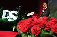 PS chairman Elio Di Rupo delivers a speech at the participation congress of PS French-speaking socialists party after the announcement of a new regional government, on September 12, 2019, in Namur. (Photo by BENOIT DOPPAGNE / BELGA / AFP) / Belgium OUT