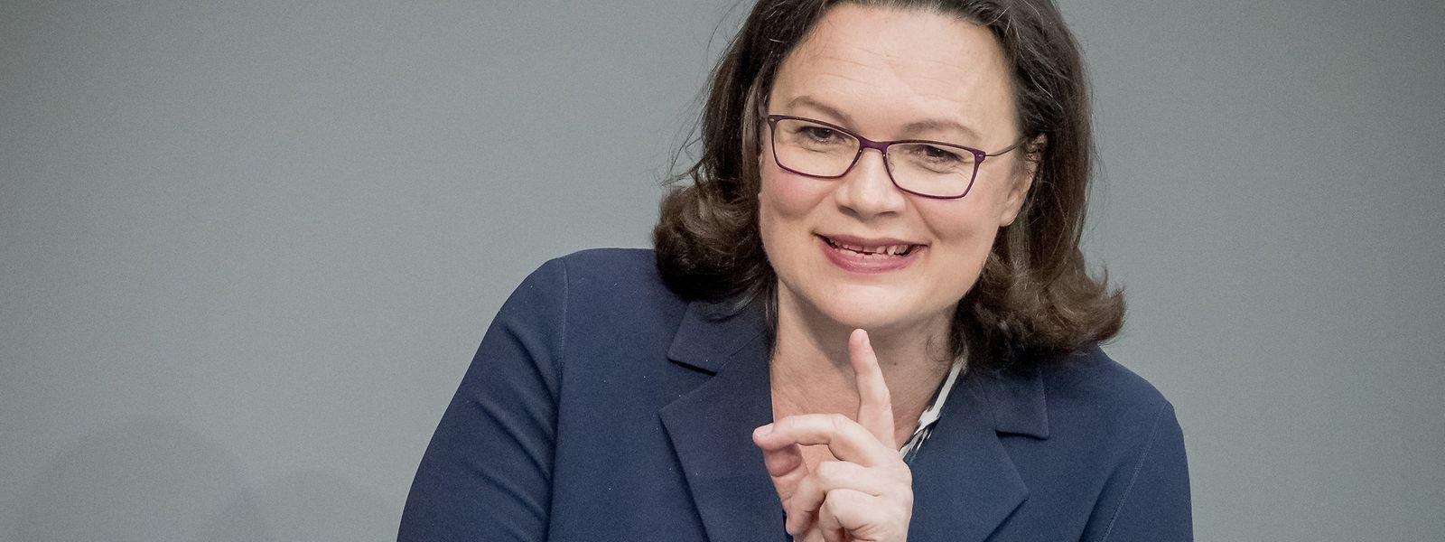 Andrea Nahles im Jahr 2018 bei einer Plenarsitzung des Bundestags.