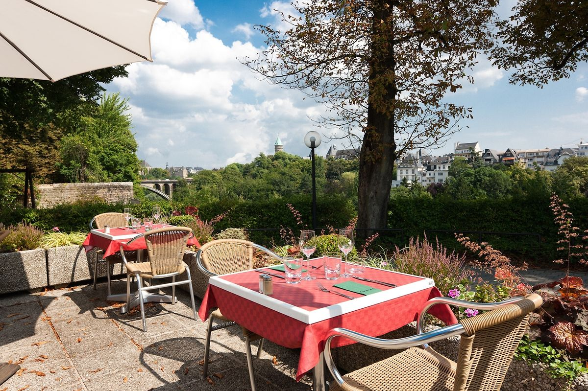 The terrace of Le Bec Fin in Luxembourg City Photo: LW