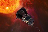 ARCHIV - Die Computergrafik zeigt die «Parker Solar Probe»-Sonde der US-Raumfahrtbehörde Nasa auf dem Weg zur Sonne. (zu dpa ««Flieger, grüß mir die Sonne»: Nasa schickt Sonde zu unserem Stern» vom 10.08.2018) Foto: Johns Hopkins University Applied Physics Laboratory/NASA/dpa +++ dpa-Bildfunk +++