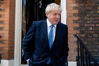 Boris Johnson, Conservative MP and leadership contender leaves his campaign headquarters to attend an event to announce the winner of the Conservative Party leadership contest in central London on July 23, 2019. (Photo by ISABEL INFANTES / AFP)