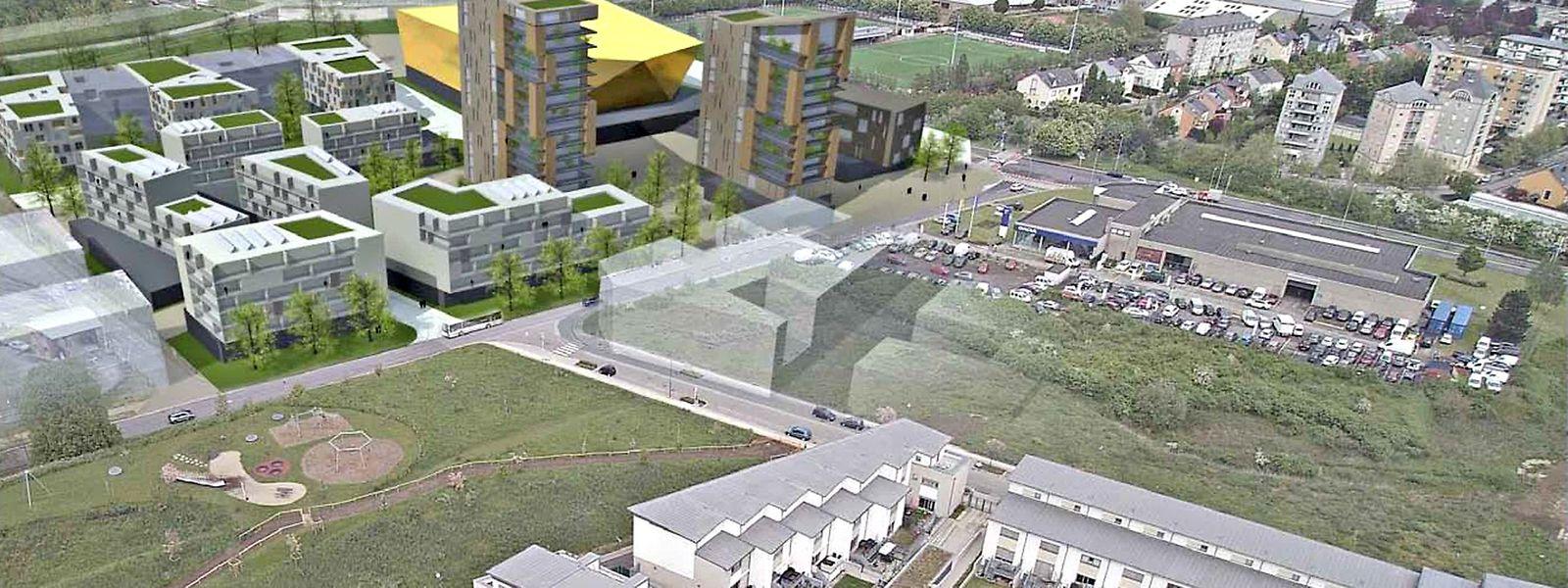 Die Sporthalle (gold eingezeichnet) ist auf dem aktuellen Standort des BMW-Autohauses geplant.