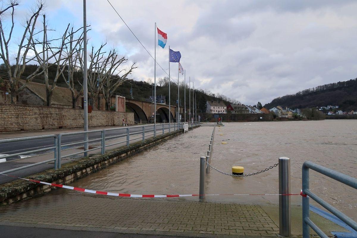 Der Steg für Passagierschiffe in Wasserbillig war ebenfalls gesperrt.