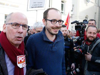 Jugement Luxleaks en appel, Edouard Perrin, Antoine Deltour et Raphaël Halet, Luxembourg, le 15 Mars 2017. Photo: Chris Karaba