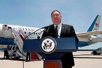 US Secretary of State Mike Pompeo speaks to the media at Andrews Air Force Base, near Washington on June 23, 2019, before boarding a plane headed to Jeddah, Saudi Arabia. (Photo by Jacquelyn Martin / POOL / AFP)