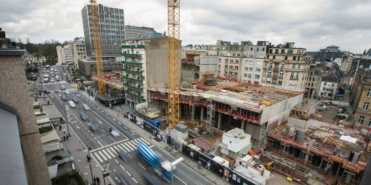 Der Royal-Hamilius-Neubau entsteht am Boulevard Royal am Standort des einstigen Centre Hamilius.