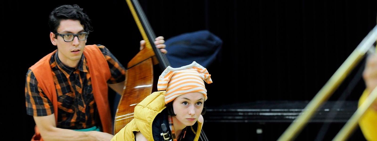 Probe des szenischen Konzerts für sieben Instrumentalisten.