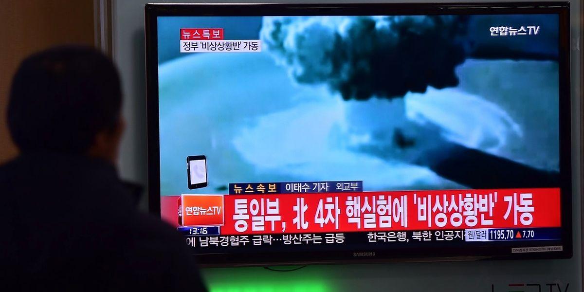 Das Fernsehen in Südkorea berichtete über den Test der Wasserstoffbombe im Nachbarland.