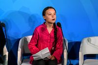 NEW YORK, NY - SEPTEMBER 23: Youth activist Greta Thunberg speaks at the Climate Action Summit at the United Nations on September 23, 2019 in New York City. While the United States will not be participating, China and about 70 other countries are expected to make announcements concerning climate change. The summit at the U.N. comes after a worldwide Youth Climate Strike on Friday, which saw millions of young people around the world demanding action to address the climate crisis.   Stephanie Keith/Getty Images/AFP == FOR NEWSPAPERS, INTERNET, TELCOS & TELEVISION USE ONLY ==