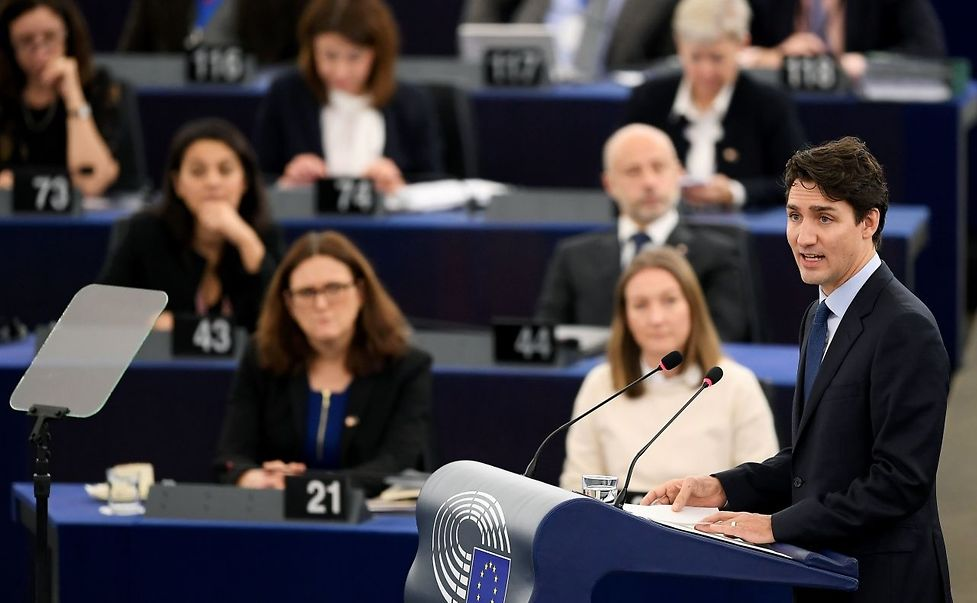 Canada's Prime Minister Justin Trudeau delivers a speech at a plenary session at the European Parliament in Strasbourg