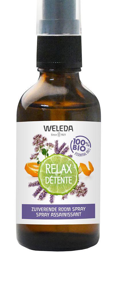 """Das Raumspray """"Relax"""" von Weleda sorgt dank der ätherischen Öle von Orange, Lavendel, Bergamotte und Majoran für Entspannung, um 13 Euro."""
