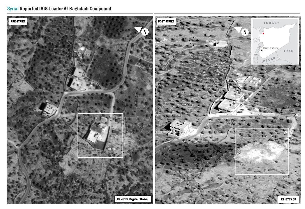 Dem Erdboden gleichgemacht: Das Versteck des IS-Anführers vor und nach dem Angriff durch US-Soldaten.