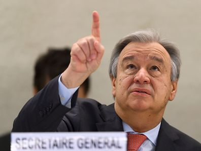UN Secretary-General Antonio Guterres gestures at the opening of the United Nations Human Rights Council on February 27, 2017 in Geneva. The United Nations Human Rights Council opens its main annual session, with the US taking its seat for the first time under President Donald Trump's leadeships. / AFP PHOTO / Fabrice COFFRINI