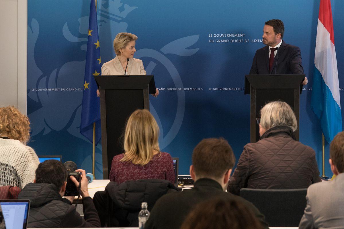 Der Medienandrang bei der gemeinsamen Pressekonferenz von EU-Kommissionspräsidentin Ursula von der Leyen und Premierminister Xavier Bettel war sehr groß.
