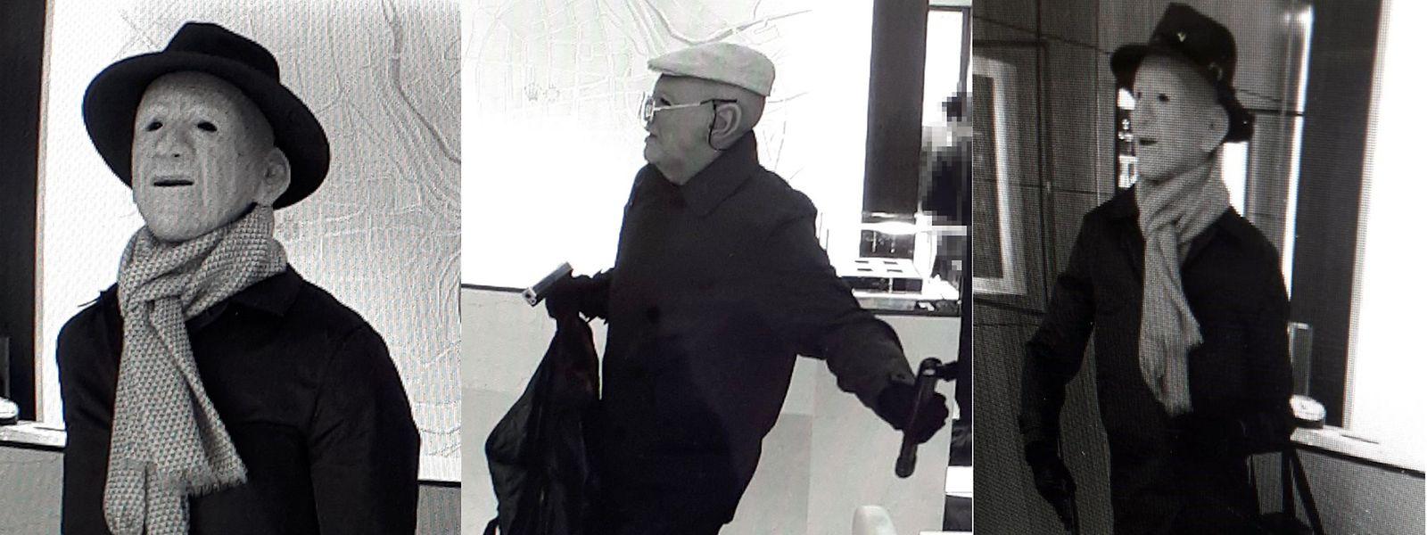 Als alte Männer sind zwei schwer bewaffnete Uhrenräuber verkleidet, als sie am 20. März 2018 gegen 11.20 Uhr ein Geschäft für Luxusuhren in der hauptstädtischen Rue Philippe II betreten.