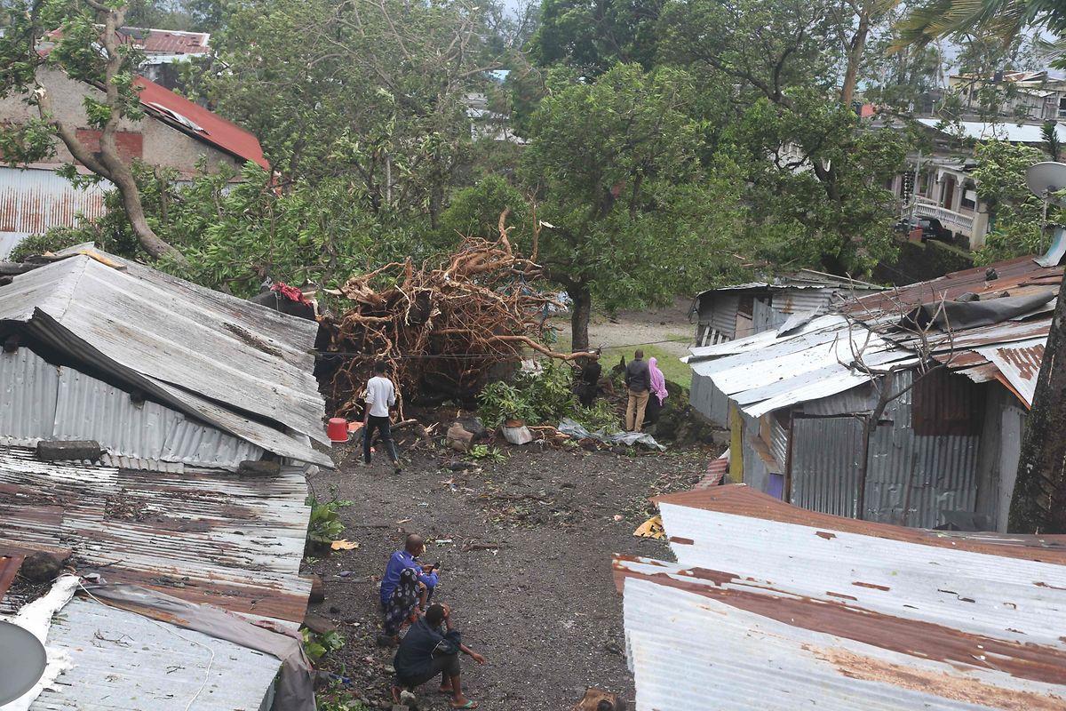 """Zerstörungen in Moroni auf den Komoren. Der Zyklon """"Kenneth"""" zog am Donnerstag über die Inselgruppe vor der Küste von Mosambik."""