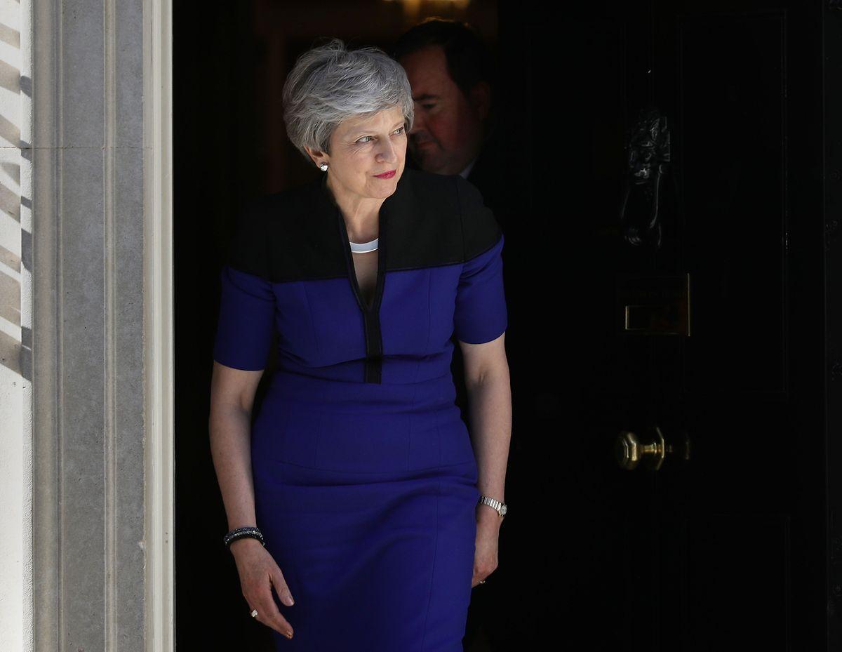 Theresa May traf sich am Dienstag zu Gesprächen mit der Labour-Partei.