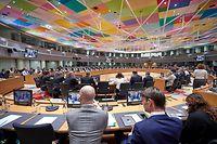 HANDOUT - 15.11.2019, Belgien, Brüssel: EU-Finanzminister nehmen an einer Sitzung zur Vorbereitung der Verhandlungen mit dem Europäischen Parlament teil. Bei den Verhandlungen soll der Gesamthaushaltsplan der EU für 2020 besprochen werden. Foto: Mario Salerno/European Council/dpa - ACHTUNG: Nur zur redaktionellen Verwendung und nur mit vollständiger Nennung des vorstehenden Credits +++ dpa-Bildfunk +++