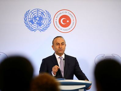 Turkey's Foreign Minister Mevlut Cavusoglu speaks during a news conference at a UN summit in Antalya, Turkey