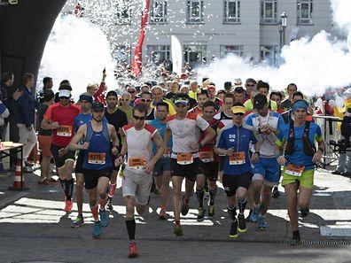 Start 34km / Leichtathletik, DKV Urban Trail / 30.04.2017 / Luxemburg / Foto: Christian Kemp