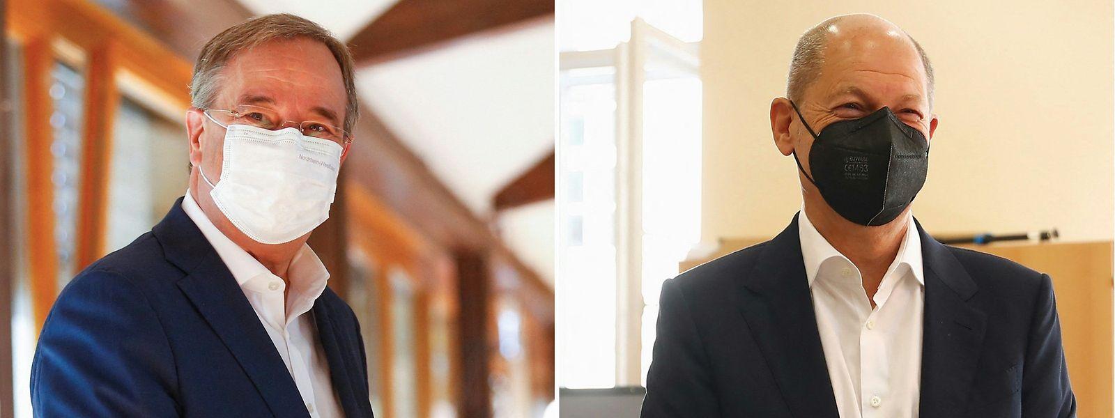 Candidato do Partido Social-Democrata (SPD), Olaf Scholz, (à direita) e Armin Laschet dos conservadores da CDU, força política de Angela Merkel.