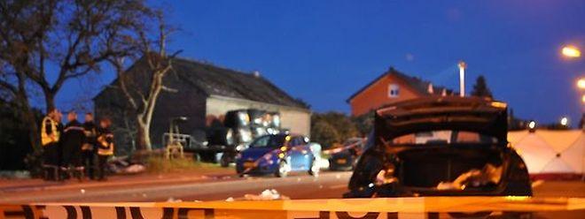 Bild der Verwüstung: Die Route de Luxembourg in Dippach wenige Stunden nach dem tragischen Vorfall.