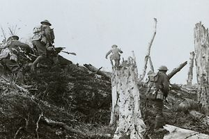 Assault in Trones Wood, Somme, France, World War I, 1916. The British 14th (Light) and 18th (Eastern) Divisions attacked Trones Wood on 14 July 1916 during the Battle of the Somme, succeeding in capturing it the following day. Stereoscopic card detail. (The Print Collector / Heritage Images) | usage worldwide, No third party sales.