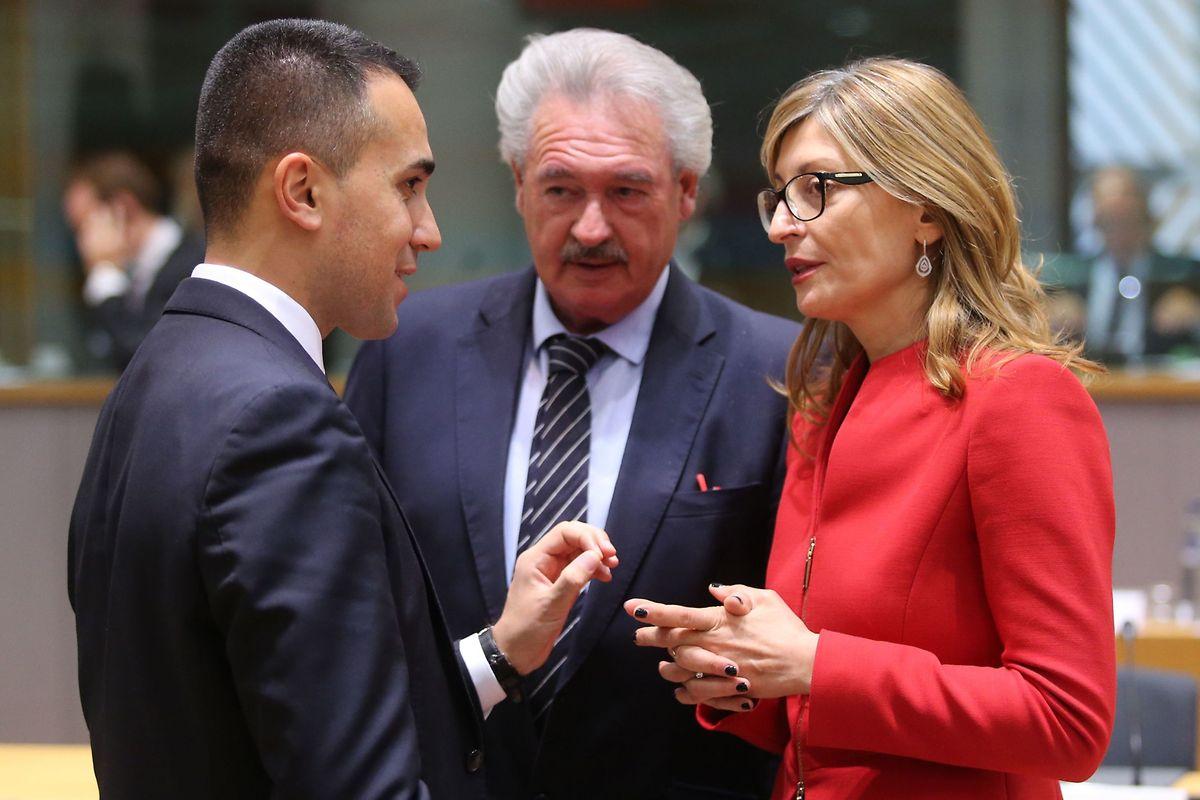 Italiens Außenminister Luigi Di Maio mit seinen Amtskollegen Jean Asselborn und Ekaterina Zaharieva (Bulgarien).